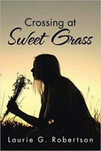 silhouette of a woman smelling a flower on the book cover for Crossing at Sweet Grass